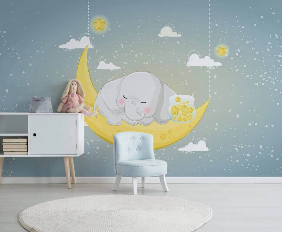 Fototapete Mond Elefant Star Illustration